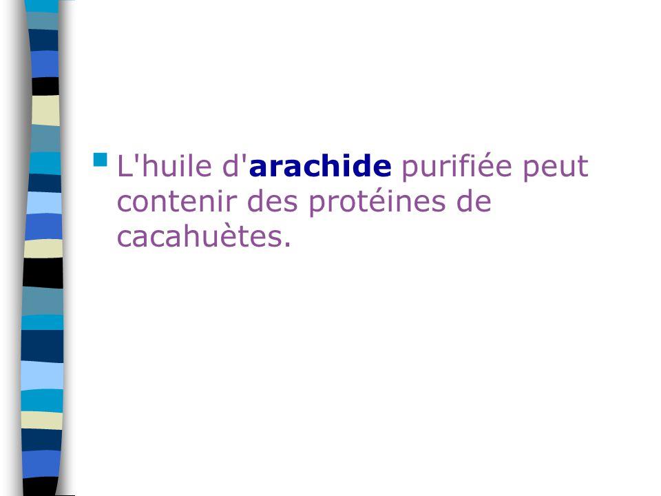 L'huile d'arachide purifiée peut contenir des protéines de cacahuètes.