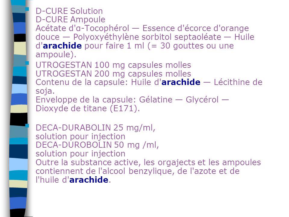 D-CURE Solution D-CURE Ampoule Acétate d'α-Tocophérol — Essence d'écorce d'orange douce — Polyoxyéthylène sorbitol septaoléate — Huile d'arachide pour