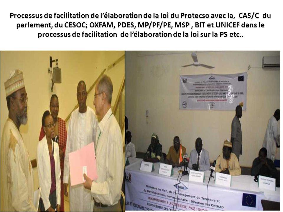 Processus de facilitation de l'élaboration de la loi du Protecso avec la, CAS/C du parlement, du CESOC; OXFAM, PDES, MP/PF/PE, MSP, BIT et UNICEF dans