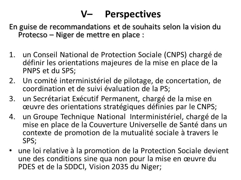 V– Perspectives En guise de recommandations et de souhaits selon la vision du Protecso – Niger de mettre en place : 1.un Conseil National de Protectio