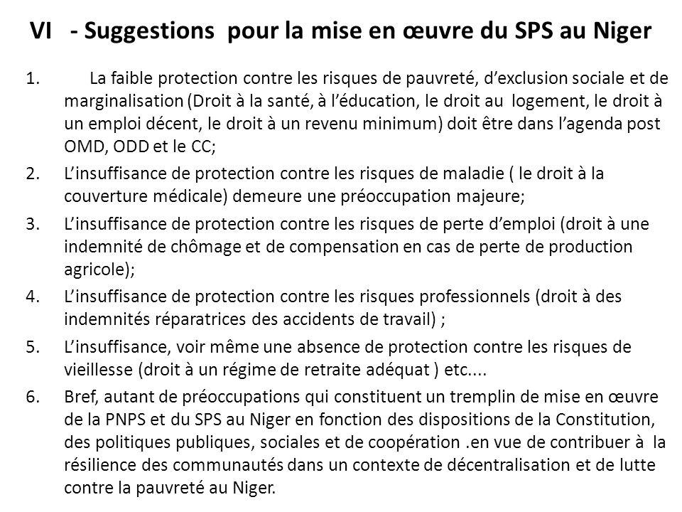 VI - Suggestions pour la mise en œuvre du SPS au Niger 1. La faible protection contre les risques de pauvreté, d'exclusion sociale et de marginalisati