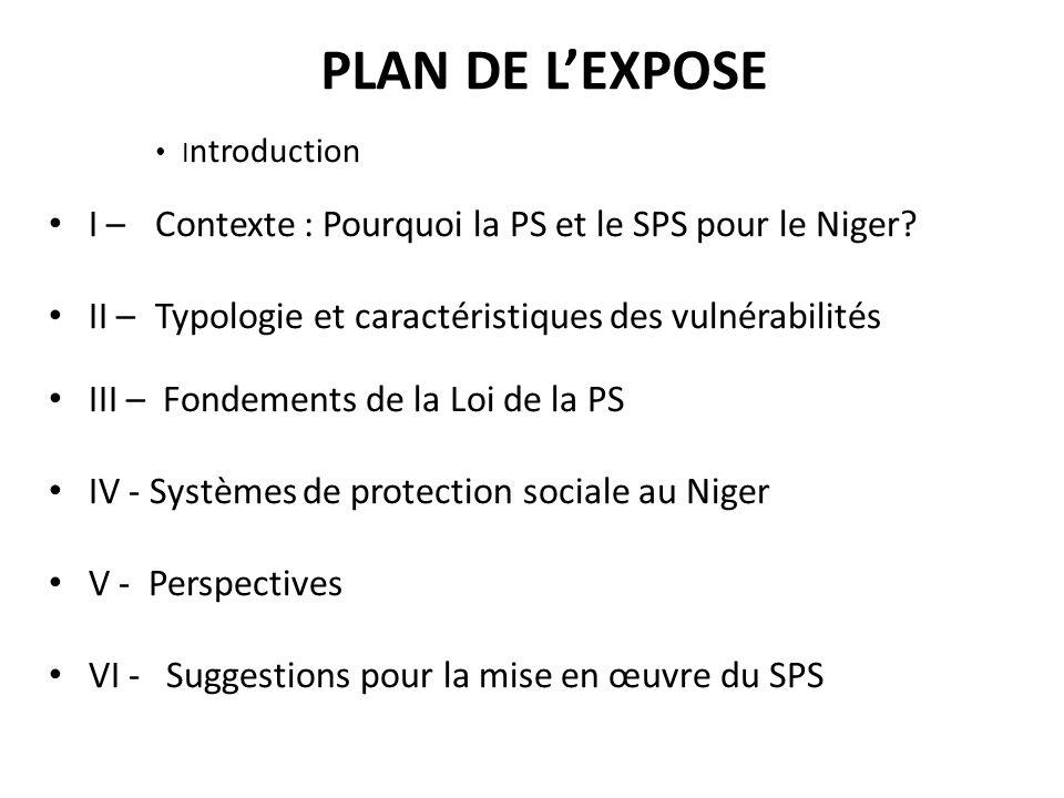 PLAN DE L'EXPOSE I ntroduction I – Contexte : Pourquoi la PS et le SPS pour le Niger? II – Typologie et caractéristiques des vulnérabilités III – Fond