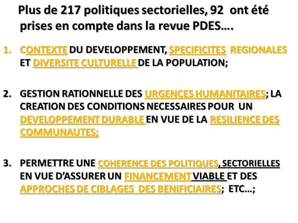 Plus de 217 politiques sectorielles, 92 ont été prises en compte dans la revue PDES…. Plus de 217 politiques sectorielles, 92 ont été prises en compte
