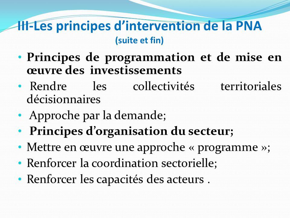 III-Les principes d'intervention de la PNA (suite et fin) Principes de programmation et de mise en œuvre des investissements Rendre les collectivités territoriales décisionnaires Approche par la demande; Principes d'organisation du secteur; Mettre en œuvre une approche « programme »; Renforcer la coordination sectorielle; Renforcer les capacités des acteurs.