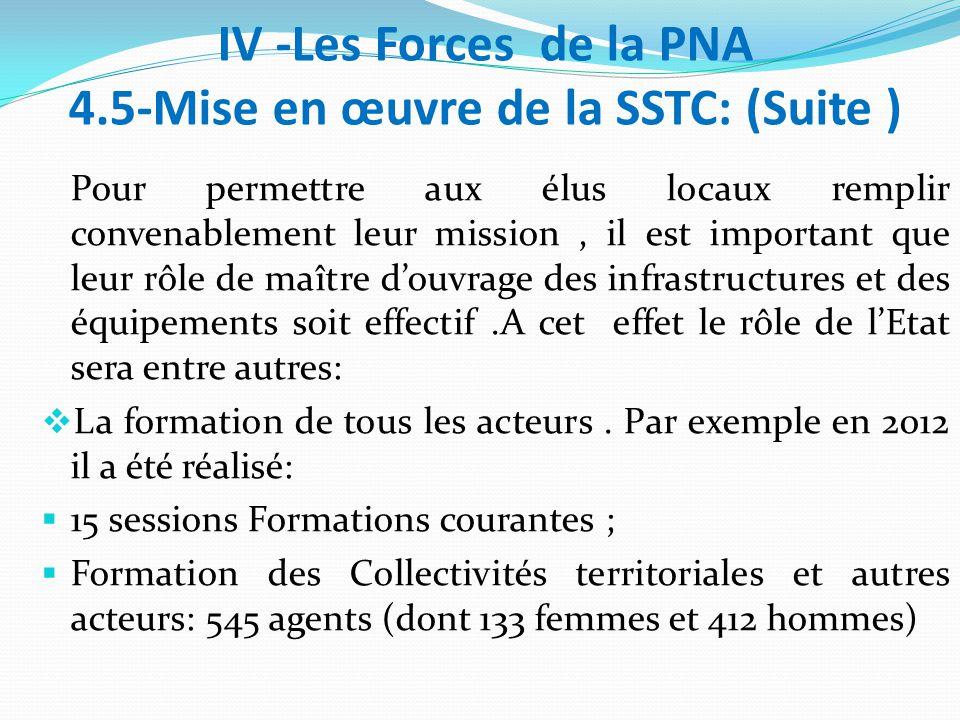 IV -Les Forces de la PNA 4.5-Mise en œuvre de la SSTC: (Suite ) Pour permettre aux élus locaux remplir convenablement leur mission, il est important que leur rôle de maître d'ouvrage des infrastructures et des équipements soit effectif.A cet effet le rôle de l'Etat sera entre autres:  La formation de tous les acteurs.