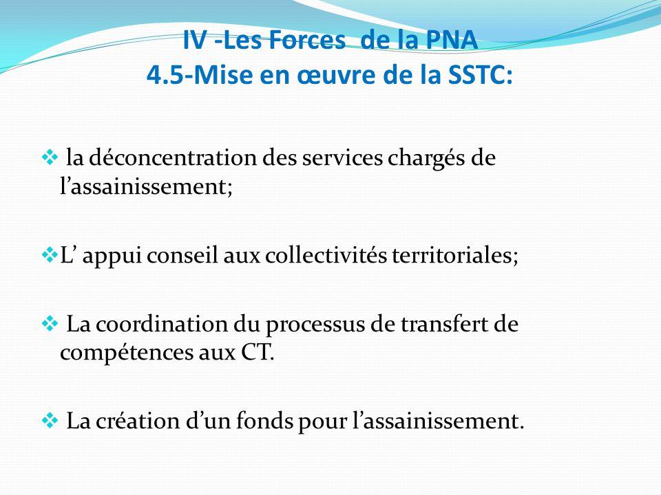 IV -Les Forces de la PNA 4.5-Mise en œuvre de la SSTC:  la déconcentration des services chargés de l'assainissement;  L' appui conseil aux collectivités territoriales;  La coordination du processus de transfert de compétences aux CT.