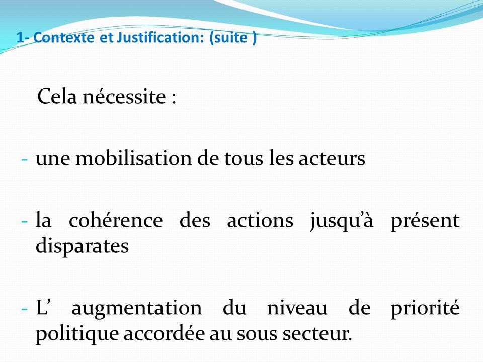 1- Contexte et Justification: (suite ) Cela nécessite : - une mobilisation de tous les acteurs - la cohérence des actions jusqu'à présent disparates - L' augmentation du niveau de priorité politique accordée au sous secteur.