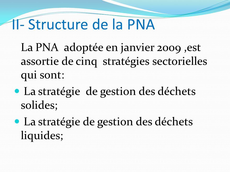 II- Structure de la PNA La PNA adoptée en janvier 2009,est assortie de cinq stratégies sectorielles qui sont: La stratégie de gestion des déchets solides; La stratégie de gestion des déchets liquides;