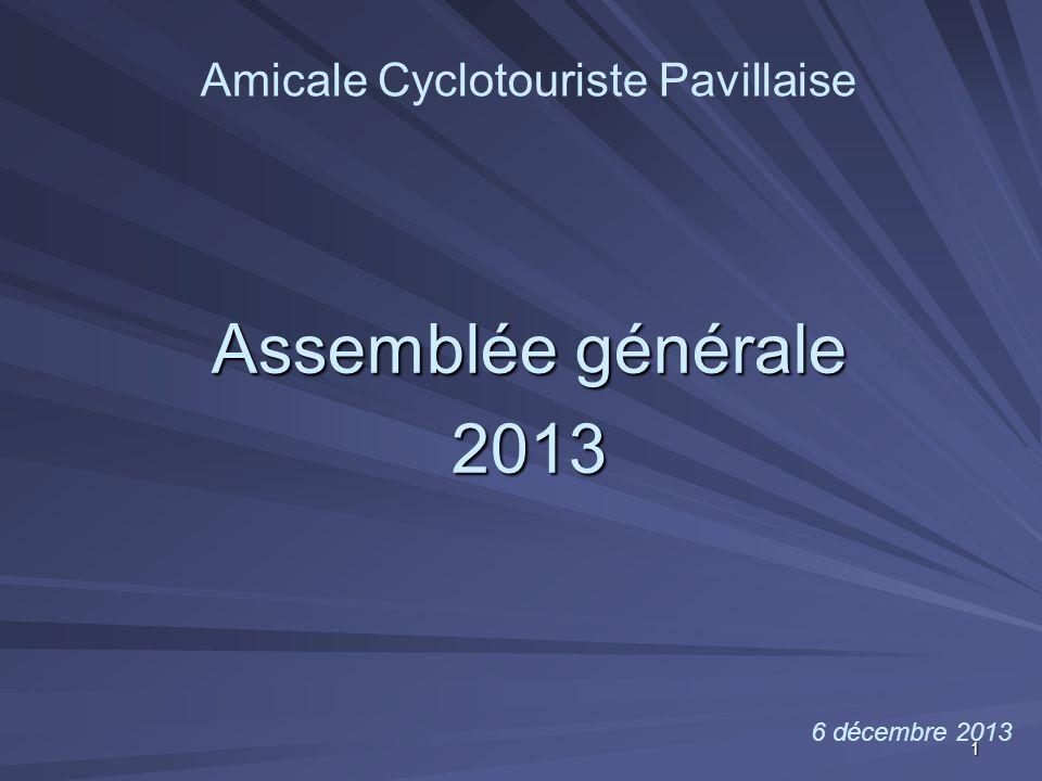 Assemblée générale 2013 Amicale Cyclotouriste Pavillaise 6 décembre 2013 1