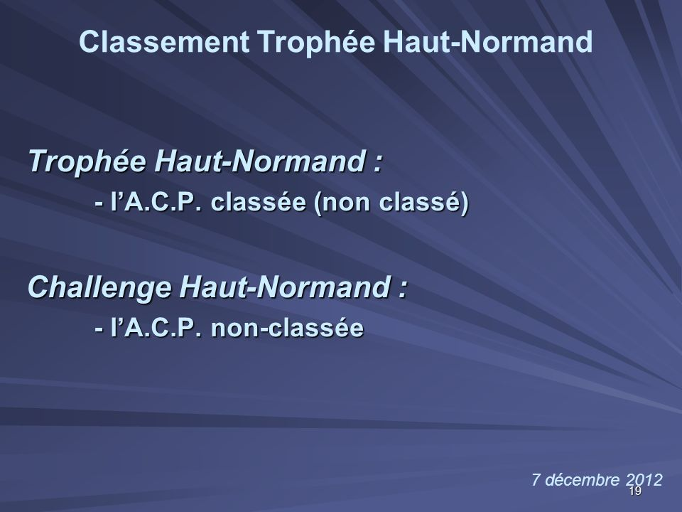 Trophée Haut-Normand : - l'A.C.P. classée (non classé) Challenge Haut-Normand : - l'A.C.P. non-classée 7 décembre 2012 Classement Trophée Haut-Normand
