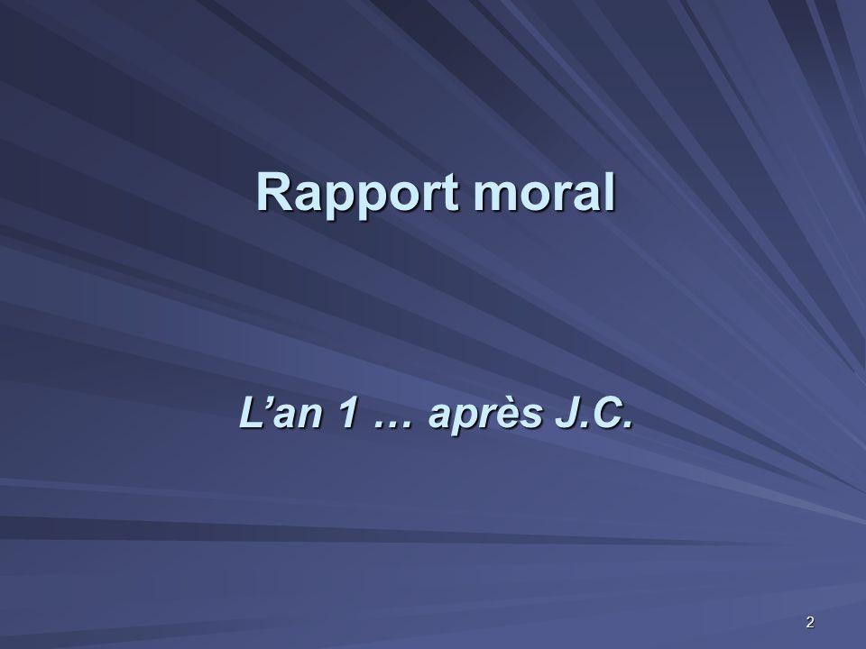 Rapport moral L'an 1 … après J.C. 2