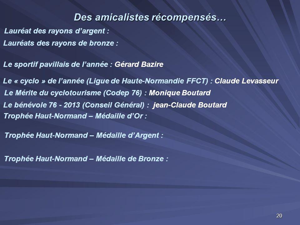 Des amicalistes récompensés… Le sportif pavillais de l'année : Gérard Bazire Lauréats des rayons de bronze : Lauréat des rayons d'argent : Le Mérite d