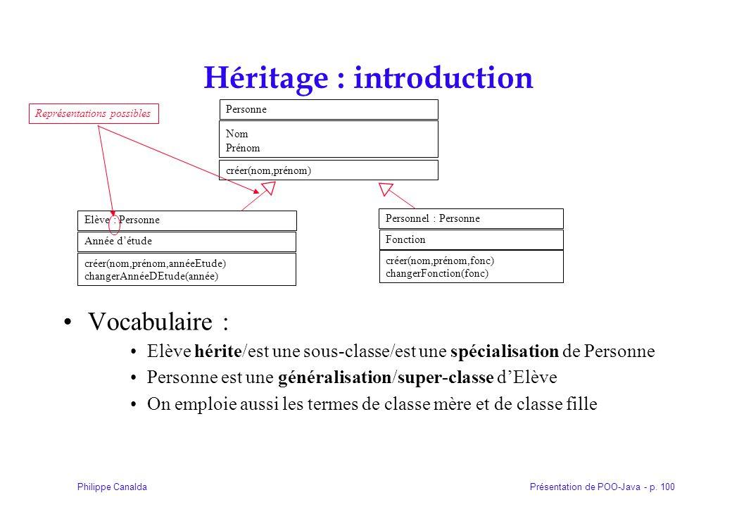 Présentation de POO-Java - p. 100Philippe Canalda Héritage : introduction Vocabulaire : Elève hérite/est une sous-classe/est une spécialisation de Per