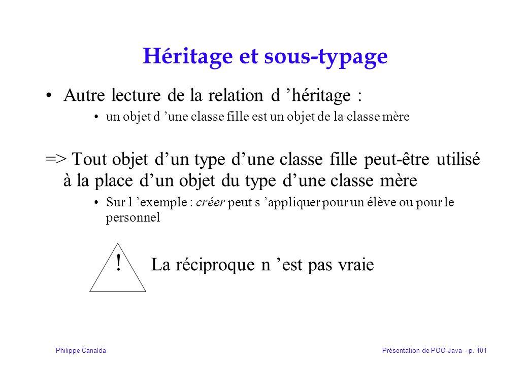 Présentation de POO-Java - p. 101Philippe Canalda Héritage et sous-typage Autre lecture de la relation d 'héritage : un objet d 'une classe fille est