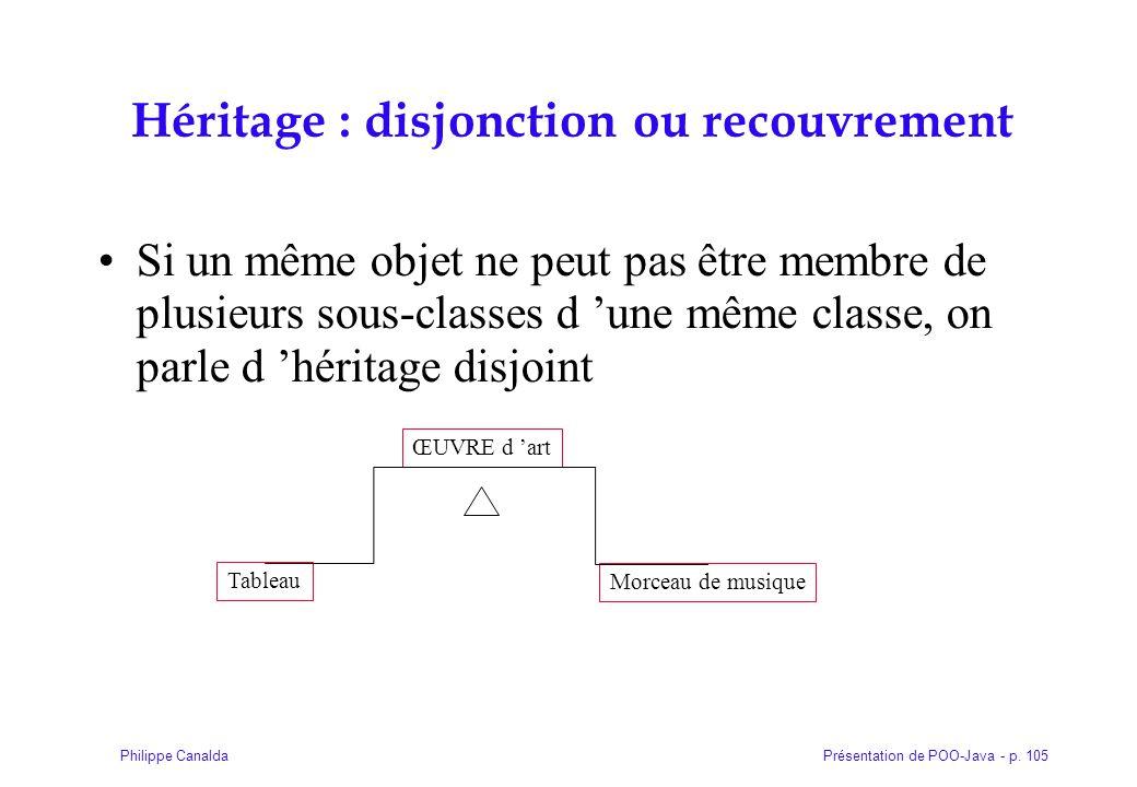 Présentation de POO-Java - p. 105Philippe Canalda Héritage : disjonction ou recouvrement Si un même objet ne peut pas être membre de plusieurs sous-cl