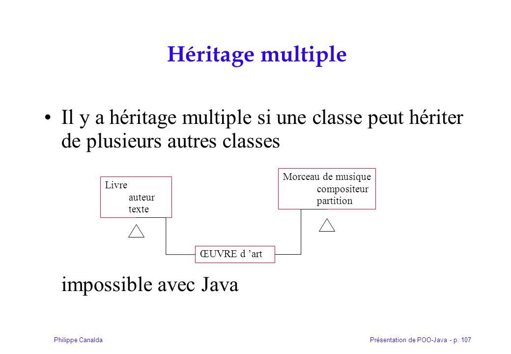 Présentation de POO-Java - p. 107Philippe Canalda Héritage multiple Il y a héritage multiple si une classe peut hériter de plusieurs autres classes im