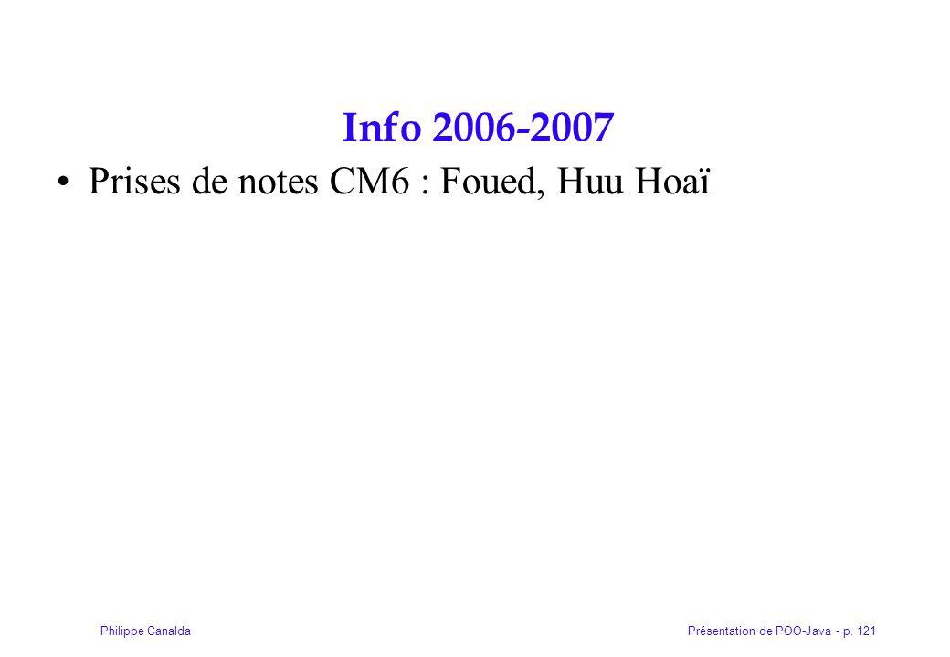 Présentation de POO-Java - p. 121Philippe Canalda Info 2006-2007 Prises de notes CM6 : Foued, Huu Hoaï