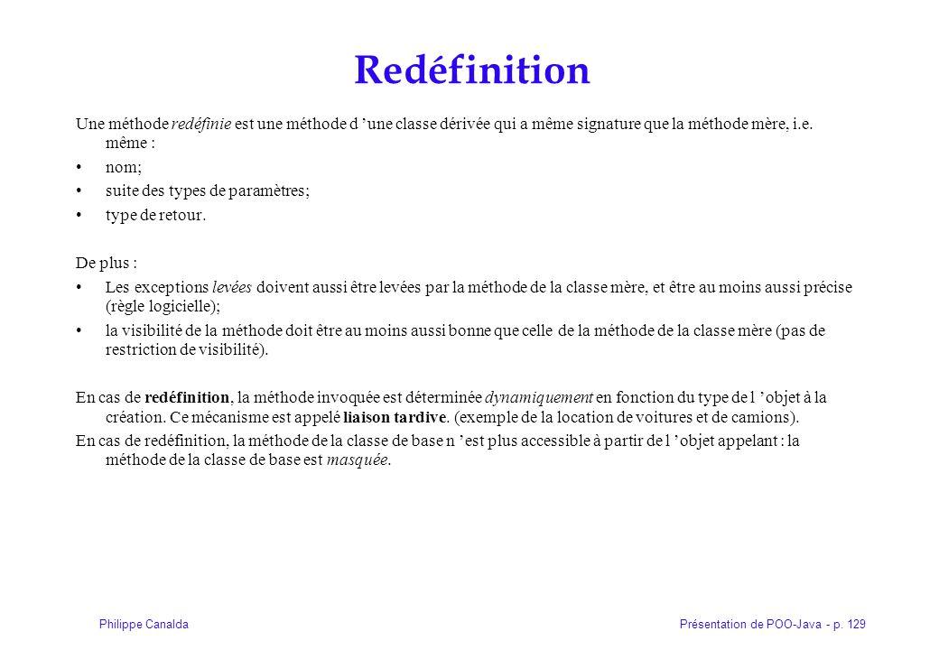 Présentation de POO-Java - p. 129Philippe Canalda Redéfinition Une méthode redéfinie est une méthode d 'une classe dérivée qui a même signature que la