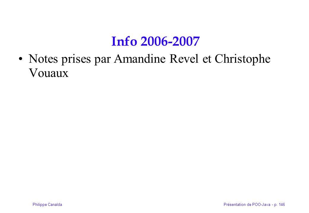 Présentation de POO-Java - p. 146Philippe Canalda Info 2006-2007 Notes prises par Amandine Revel et Christophe Vouaux