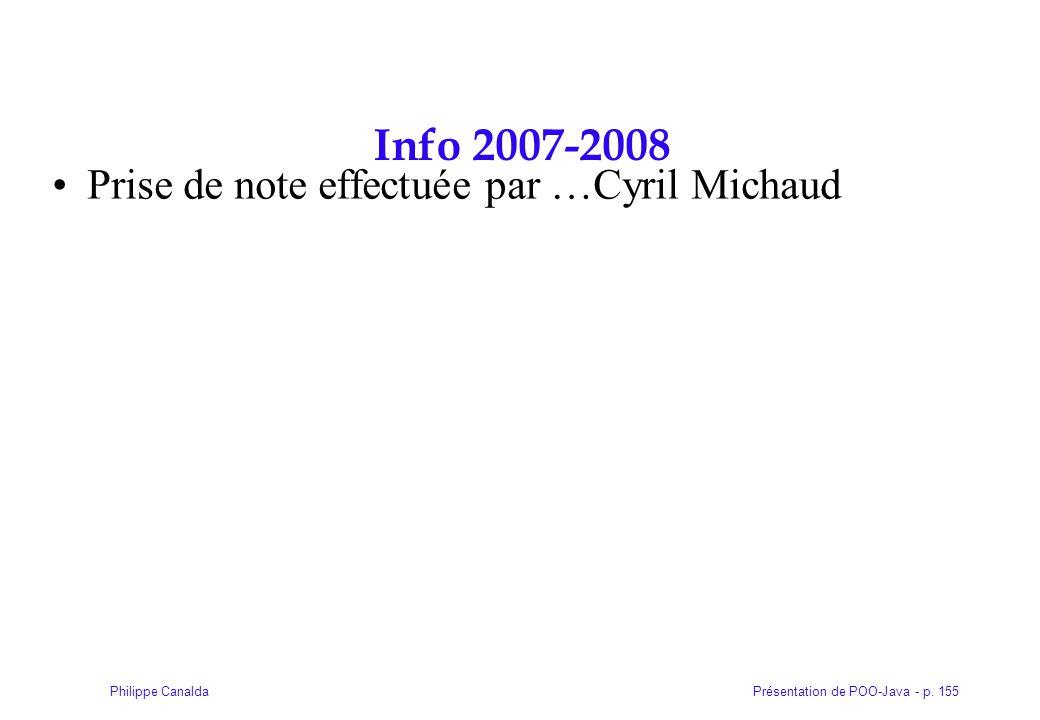 Présentation de POO-Java - p. 155Philippe Canalda Info 2007-2008 Prise de note effectuée par …Cyril Michaud