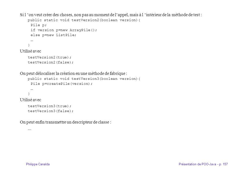 Présentation de POO-Java - p. 157Philippe Canalda Si l 'on veut créer des choses, non pas au moment de l'appel, mais à l 'intérieur de la méthode de t
