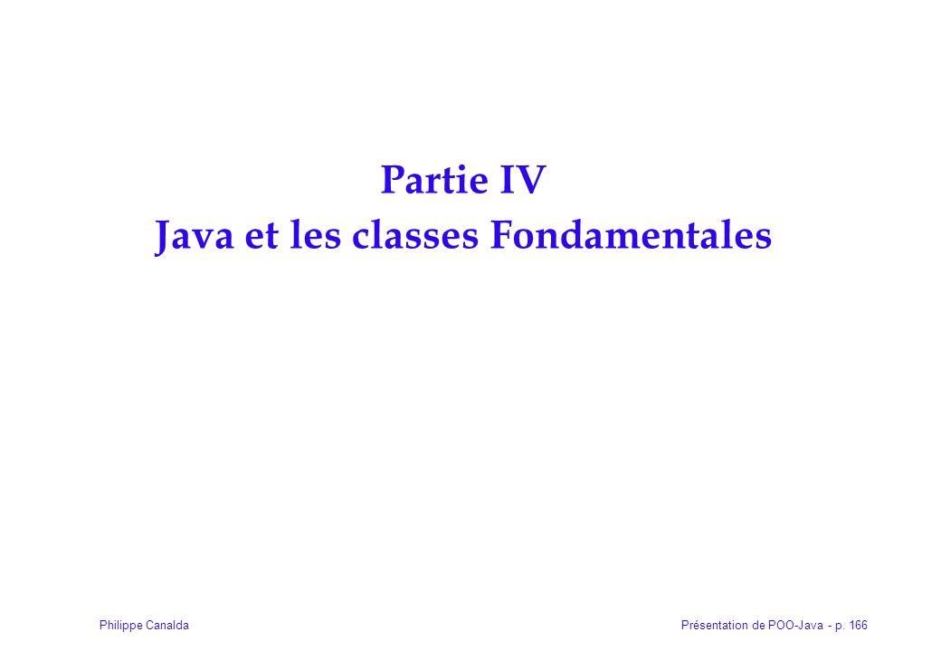Présentation de POO-Java - p. 166Philippe Canalda Partie IV Java et les classes Fondamentales