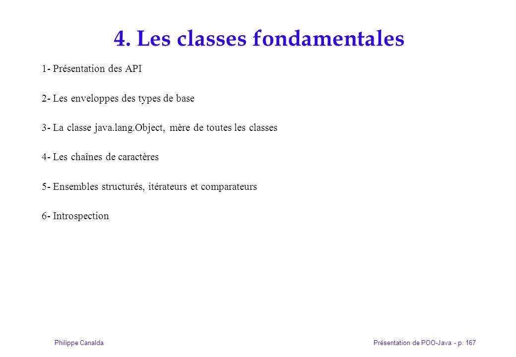 Présentation de POO-Java - p. 167Philippe Canalda 4. Les classes fondamentales 1- Présentation des API 2- Les enveloppes des types de base 3- La class