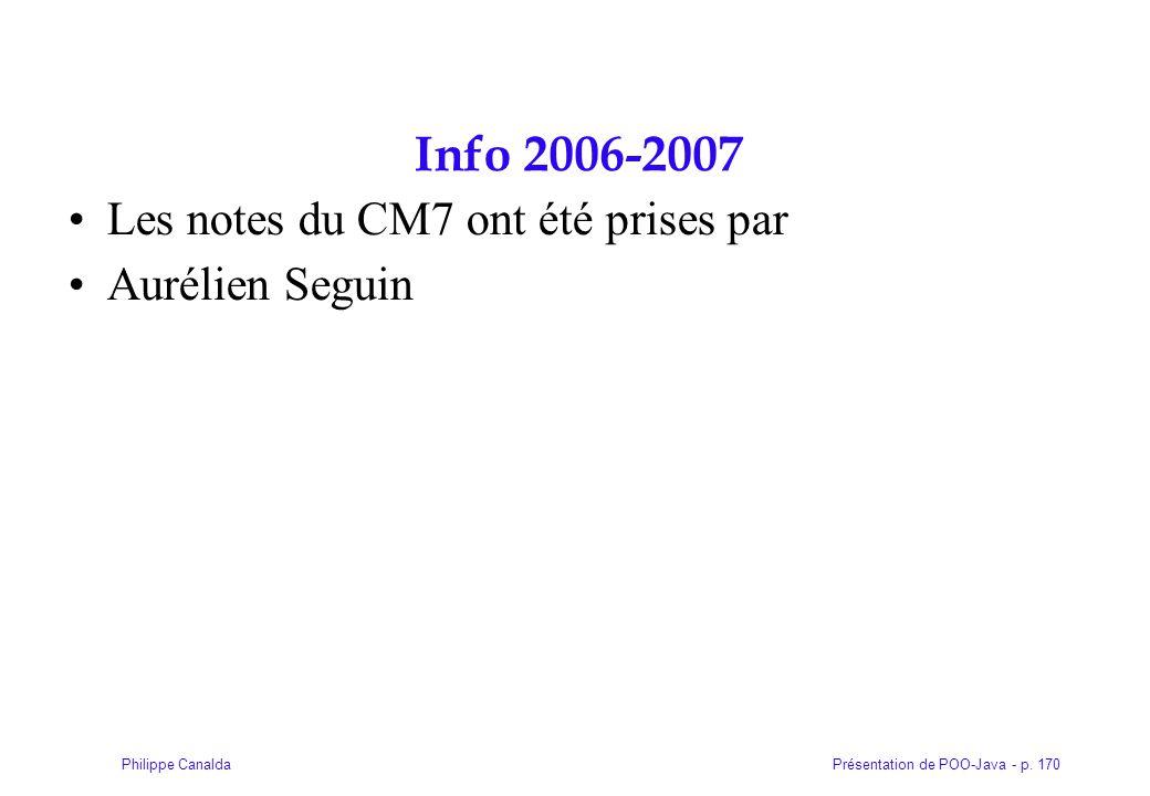 Présentation de POO-Java - p. 170Philippe Canalda Info 2006-2007 Les notes du CM7 ont été prises par Aurélien Seguin