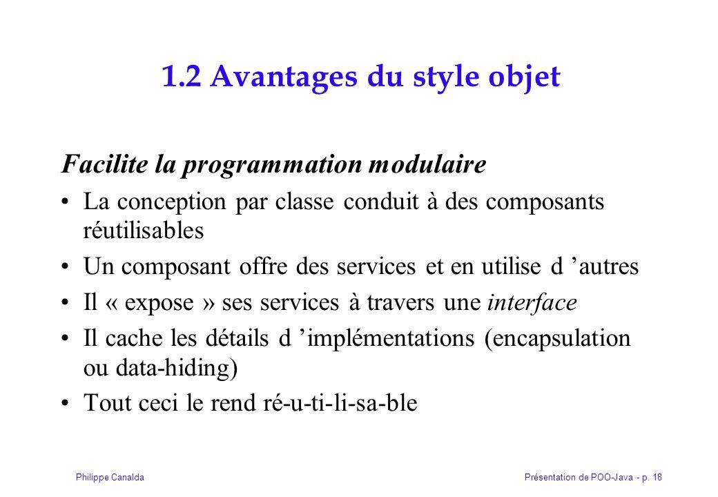 Présentation de POO-Java - p. 18Philippe Canalda 1.2 Avantages du style objet Facilite la programmation modulaire La conception par classe conduit à d