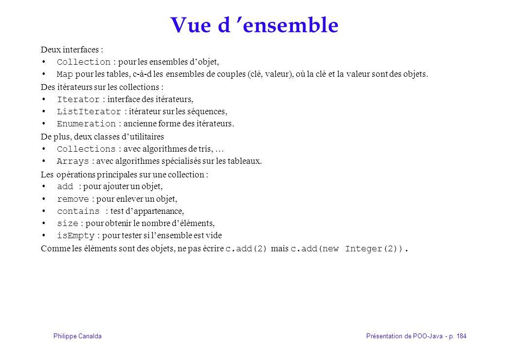 Présentation de POO-Java - p. 184Philippe Canalda Vue d 'ensemble Deux interfaces : Collection : pour les ensembles d'objet, Map pour les tables, c-à-