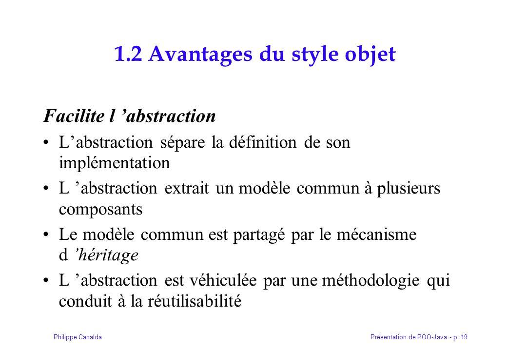 Présentation de POO-Java - p. 19Philippe Canalda 1.2 Avantages du style objet Facilite l 'abstraction L'abstraction sépare la définition de son implém