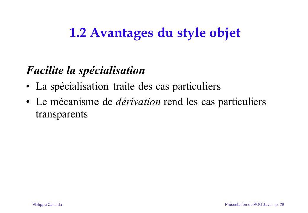Présentation de POO-Java - p. 20Philippe Canalda 1.2 Avantages du style objet Facilite la spécialisation La spécialisation traite des cas particuliers