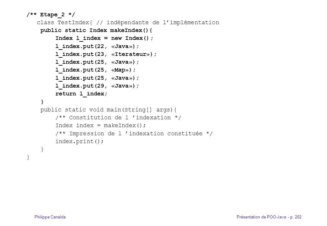Présentation de POO-Java - p. 202Philippe Canalda /** Etape_2 */ class TestIndex{ // indépendante de l'implémentation public static Index makeIndex(){