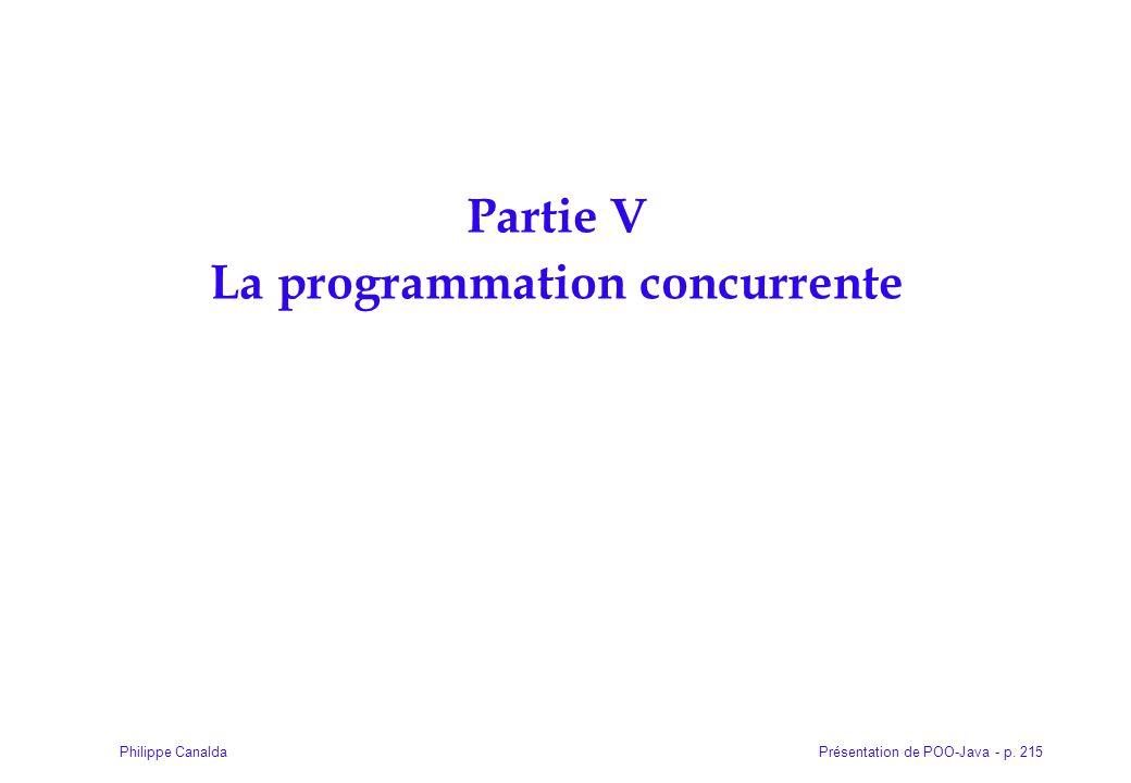 Présentation de POO-Java - p. 215Philippe Canalda Partie V La programmation concurrente