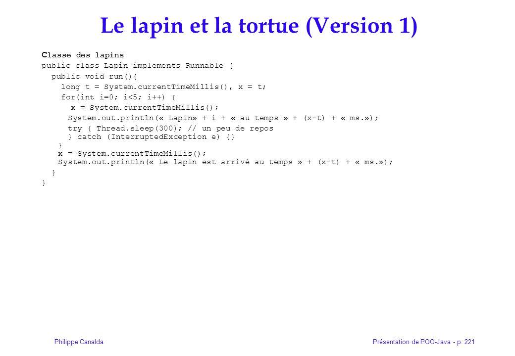 Présentation de POO-Java - p. 221Philippe Canalda Le lapin et la tortue (Version 1)  C lasse des lapins public class Lapin implements Runnable { publ