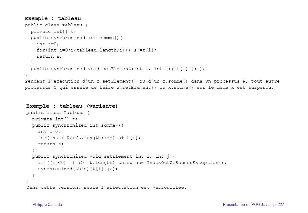 Présentation de POO-Java - p. 227Philippe Canalda Exemple : tableau public class Tableau { private int[] t; public synchronized int somme(){ int s=0;