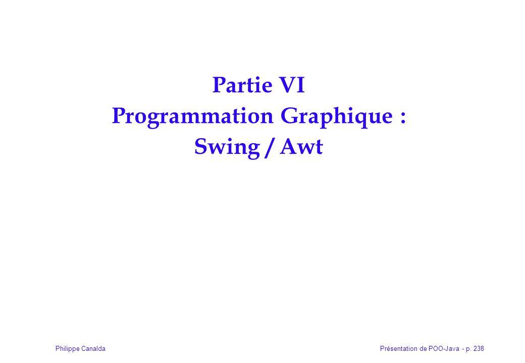 Présentation de POO-Java - p. 238Philippe Canalda Partie VI Programmation Graphique : Swing / Awt