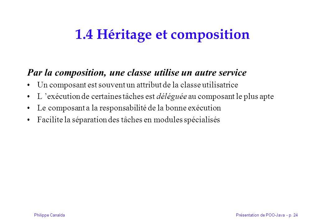 Présentation de POO-Java - p. 24Philippe Canalda 1.4 Héritage et composition Par la composition, une classe utilise un autre service Un composant est