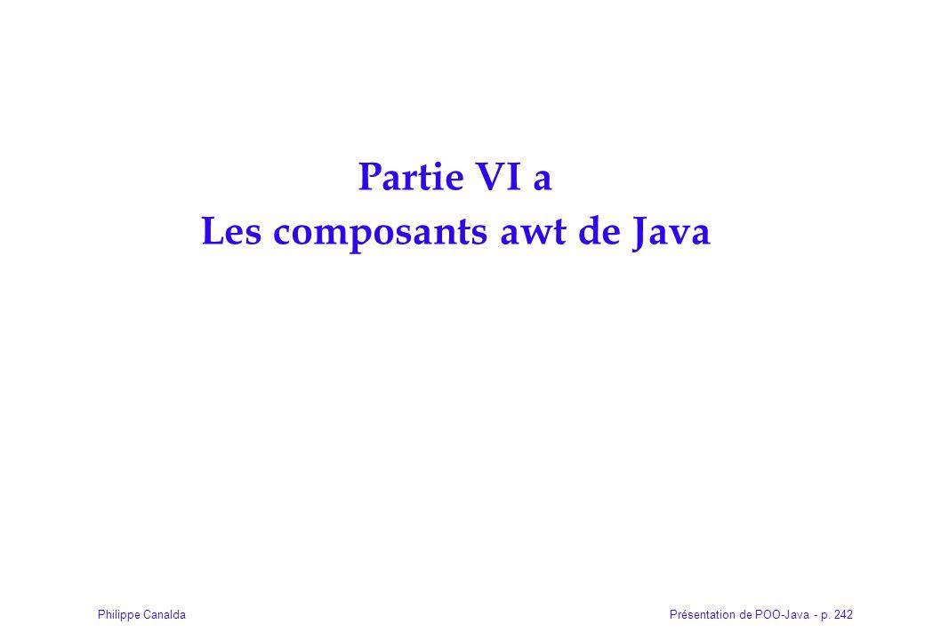 Présentation de POO-Java - p. 242Philippe Canalda Partie VI a Les composants awt de Java