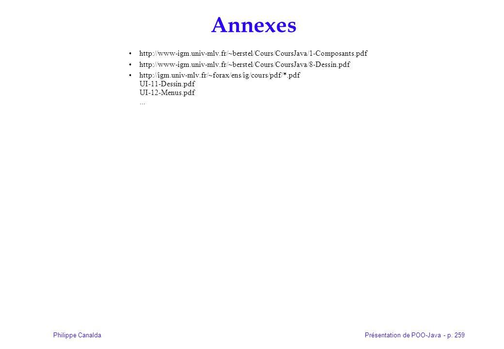 Présentation de POO-Java - p. 259Philippe Canalda Annexes http://www-igm.univ-mlv.fr/~berstel/Cours/CoursJava/1-Composants.pdf http://www-igm.univ-mlv