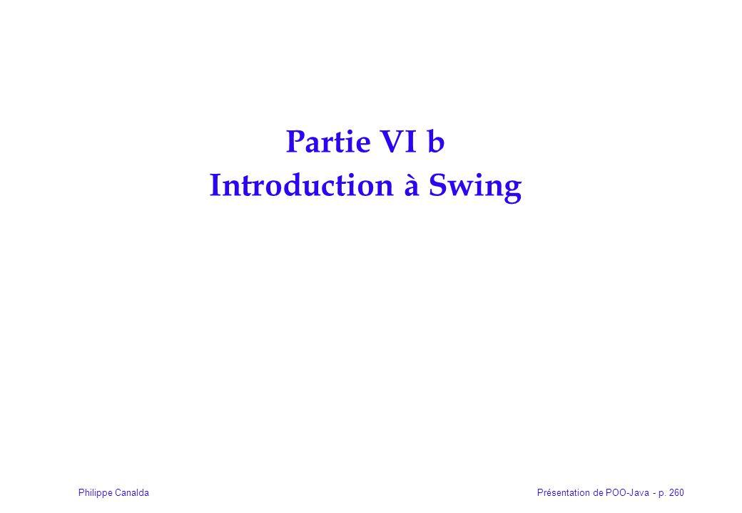 Présentation de POO-Java - p. 260Philippe Canalda Partie VI b Introduction à Swing