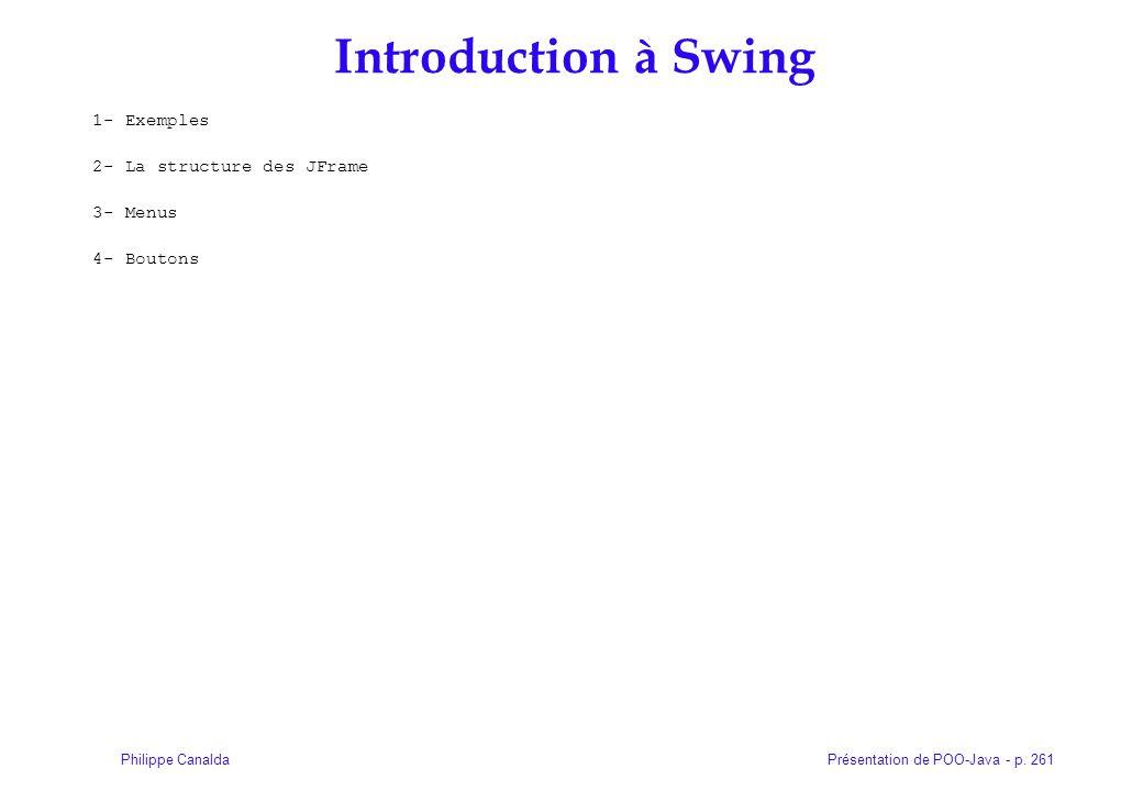 Présentation de POO-Java - p. 261Philippe Canalda Introduction à Swing 1- Exemples 2- La structure des JFrame 3- Menus 4- Boutons