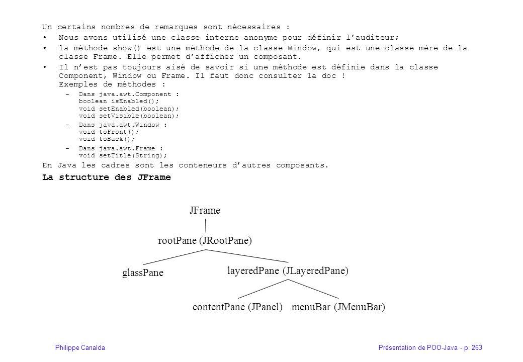 Présentation de POO-Java - p. 263Philippe Canalda Un certains nombres de remarques sont nécessaires : Nous avons utilisé une classe interne anonyme po