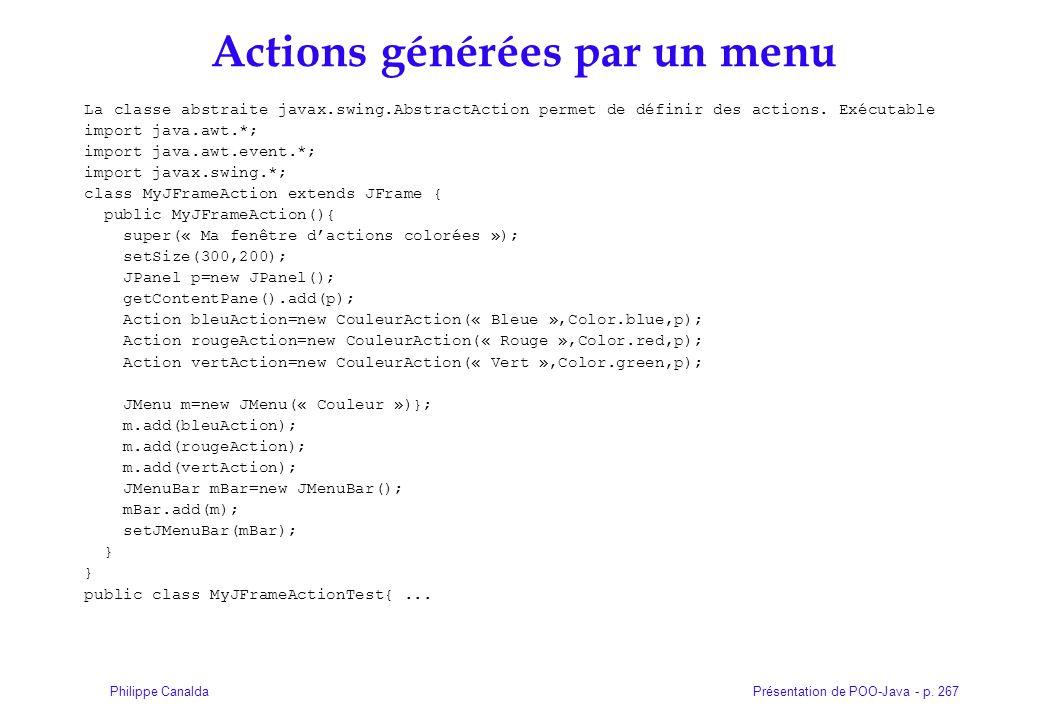 Présentation de POO-Java - p. 267Philippe Canalda Actions générées par un menu La classe abstraite javax.swing.AbstractAction permet de définir des ac