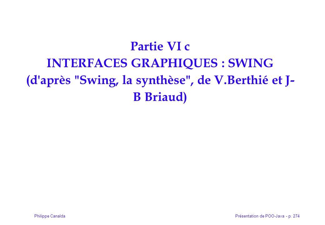 Présentation de POO-Java - p. 274Philippe Canalda Partie VI c INTERFACES GRAPHIQUES : SWING (d'après