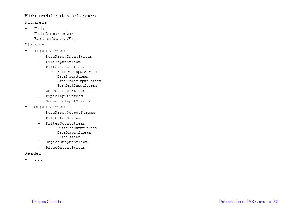 Présentation de POO-Java - p. 299Philippe Canalda Hiérarchie des classes Fichiers File FileDescriptor RandomAccessFile Streams InputStream –ByteArrayI