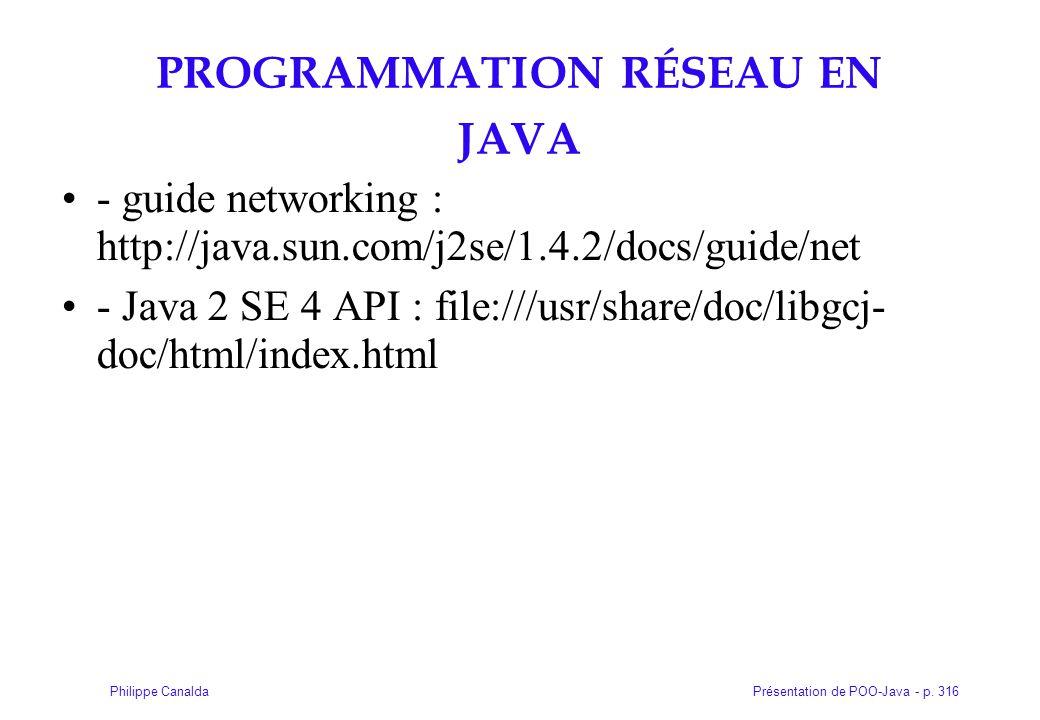 Présentation de POO-Java - p. 316Philippe Canalda PROGRAMMATION RÉSEAU EN JAVA - guide networking : http://java.sun.com/j2se/1.4.2/docs/guide/net - Ja