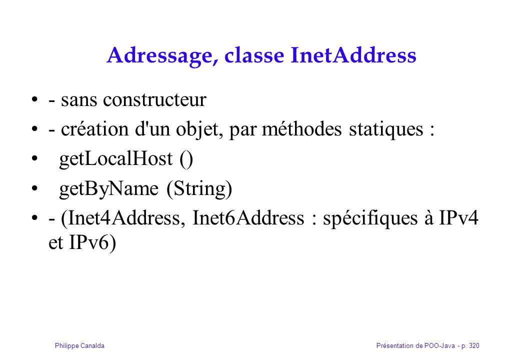Présentation de POO-Java - p. 320Philippe Canalda Adressage, classe InetAddress - sans constructeur - création d'un objet, par méthodes statiques : ge