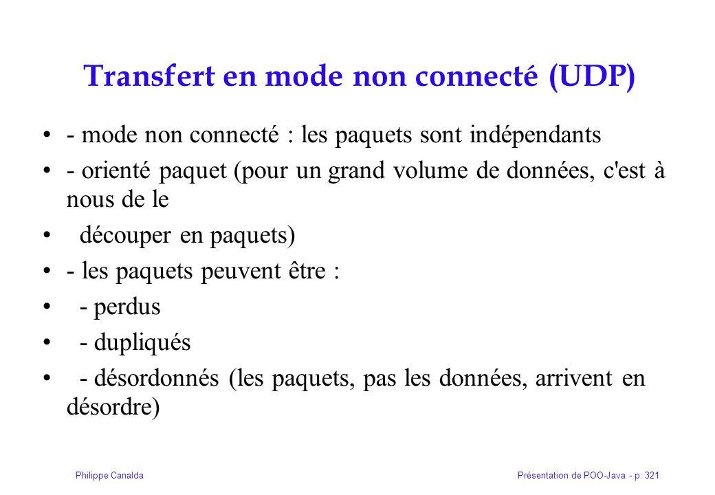 Présentation de POO-Java - p. 321Philippe Canalda Transfert en mode non connecté (UDP)  - mode non connecté : les paquets sont indépendants - orienté