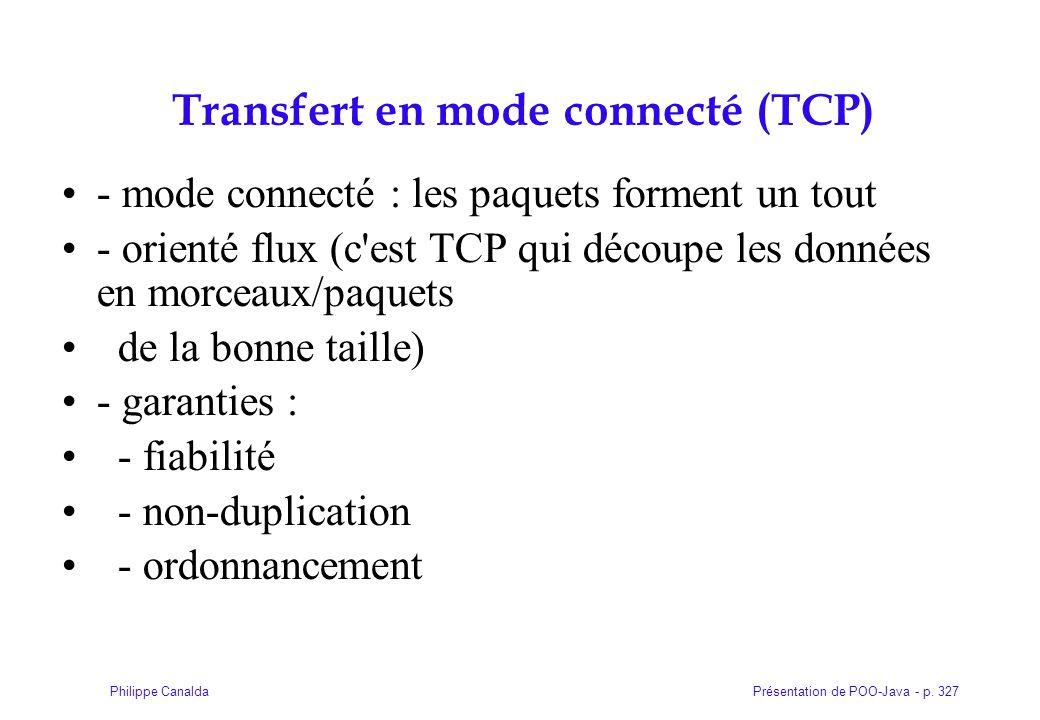 Présentation de POO-Java - p. 327Philippe Canalda Transfert en mode connecté (TCP)  - mode connecté : les paquets forment un tout - orienté flux (c'e